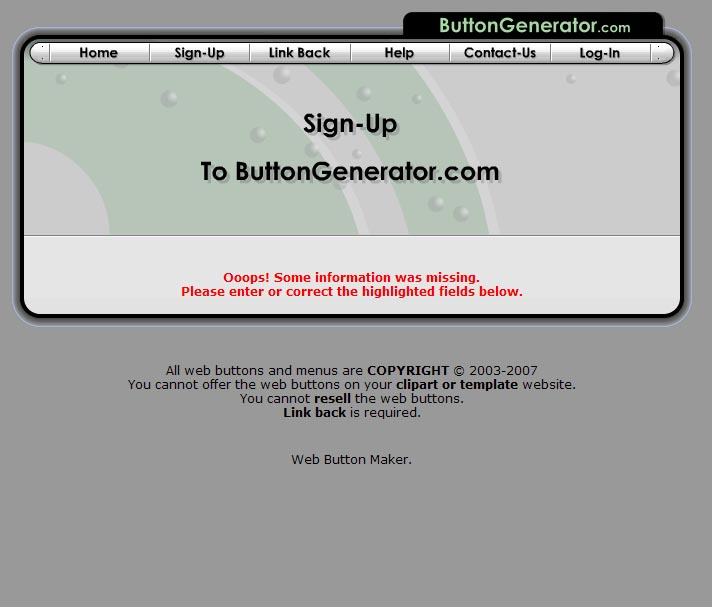 Button Generator Error Message